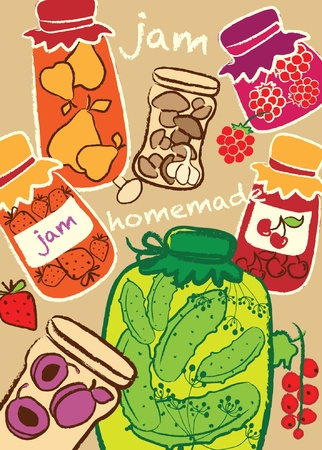 Glass Jars, jam, homemade preserves, vector illustration Vector
