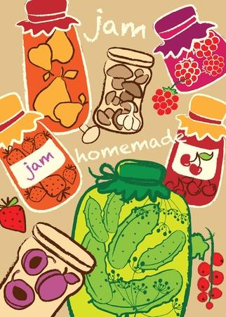 preserves: Tarros de vidrio, mermelada, conservas caseras, ilustraci�n vectorial