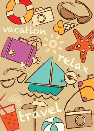 여행: 아이콘 모음 설정 여행 및 휴가, 그림 일러스트