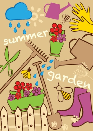 Icon collection, set garden, vector illustration Vector