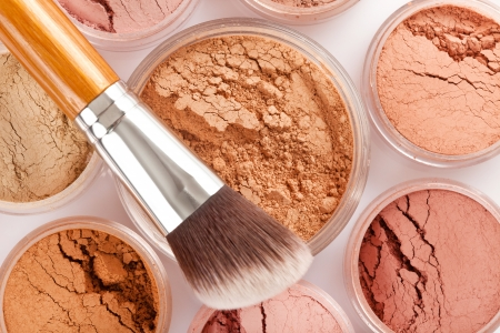 Face powder and brush Stock Photo