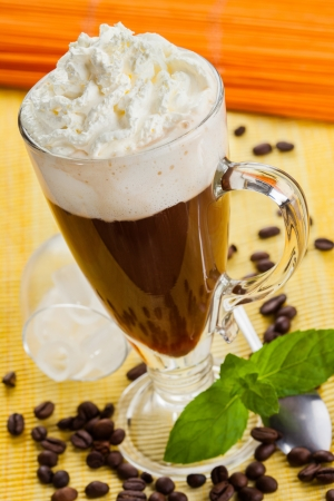 whipped cream: Dessert coffee with whipped cream Stock Photo