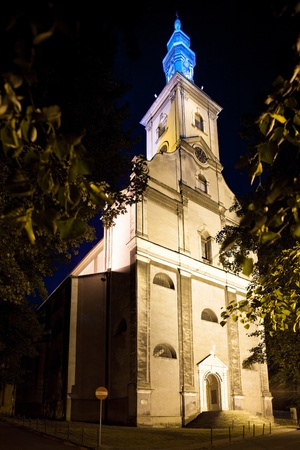 evangelical: Night view of the Evangelical Church in Cieszyn  It is the largest Protestant church in Poland  Stock Photo