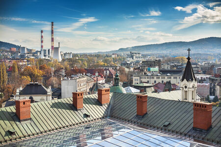 Panorama of city Bielsko-Biala  Visible CHP, and mountains – Beskid Slaski and Beskid Maly  Stock Photo
