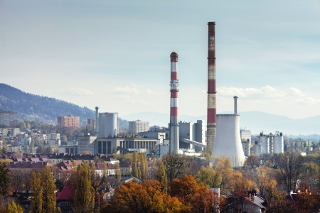 Power plant CHP in Bielsko-Biala in Poland  Autumn view from Sulkowski castle