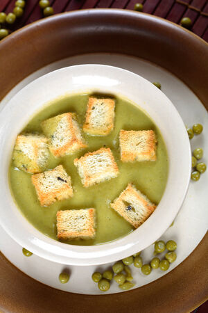 Solferino - cream with green peas, top view