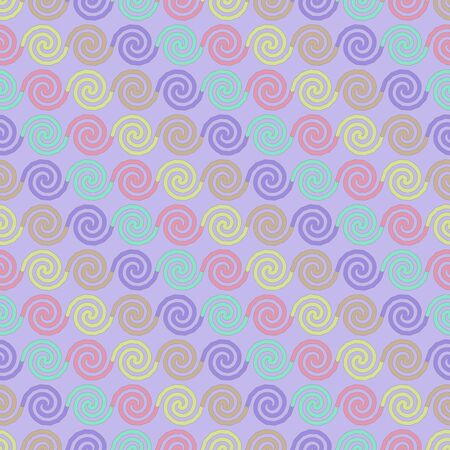 Seamless pattern abstract background colorful spiral with purple backdrop
