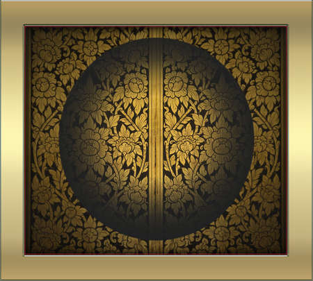 collocation: old gold Thai design photo in circle frame like a window