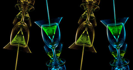 Glass mix color on black background photo