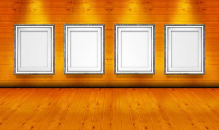 Empty picture frames in the art gallery wood room photo
