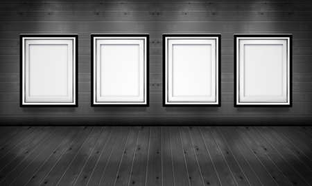 art gallery interior: Empty picture frames in the art gallery wood black and white   room