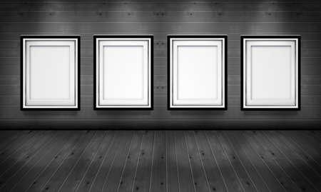 galeria fotografica: Marcos vac�os para im�genes en la galer�a de arte de madera negro y una sala blanca Foto de archivo