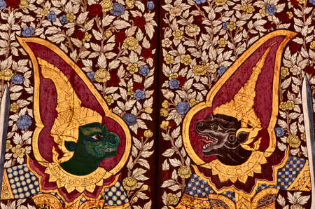 verry: Art on the wall  of Wat Suthat Thepwararam royal temple in Bangkok