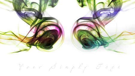 Abstract smoke on white background with place with additional text photo