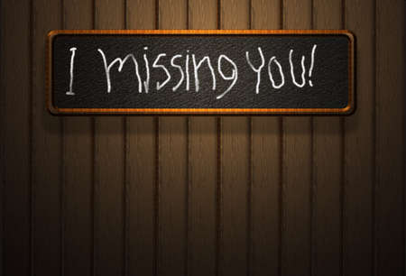 High resolution wooden texture freehand i missing you photo