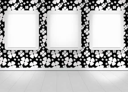 Interior of flower wallpapers wall 3 frame  photo