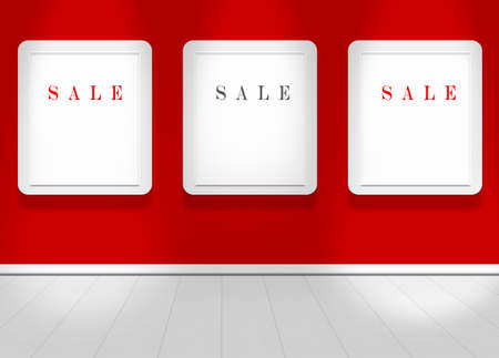 Empty red wall with spot lights and clean floor with sale text Stock Photo - 13603334