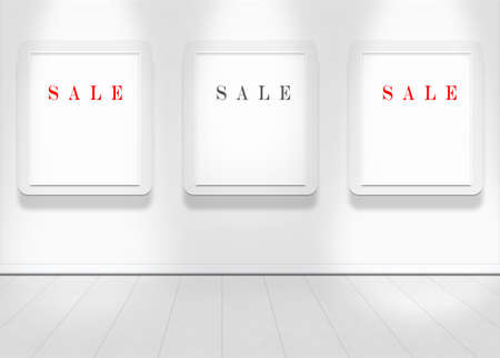 Empty white wall with spot lights and clean floor with sale text photo