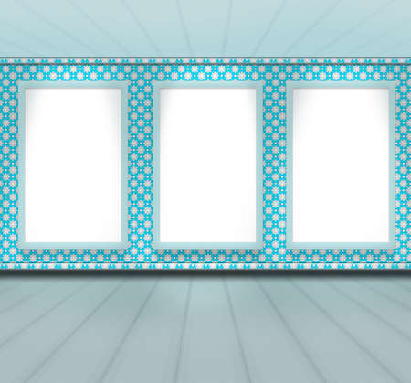 blue clean pattern design room empty perspective with 3 frame photo