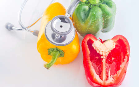 Bell Peppers are Healthy Food with stethoscope photo