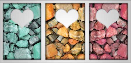 Frame 3 Shade Color abstract background round peeble stones , heart white Color photo