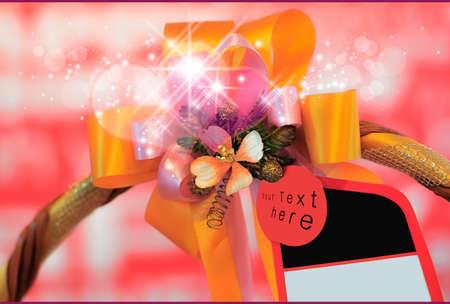 Close-up basket present congratulatory white glitter card Stock Photo - 15007021