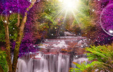 fairyland: Twilight Zone waterfalls fantasy,Soapsuds vivid Light color think for God