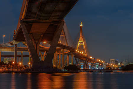 Bhumibol Bridge in Thailand,  the Industrial Ring Road Bridge, Thailand  The bridge crosses the Chao Phraya River twice Stock Photo - 17198065