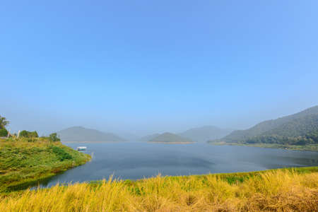 peaceably: Sky blue beautiful  reservoir-dam  mountain landscape fog fresh morning, Asia travel Stock Photo