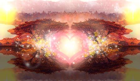 elysium: heart love between 2 trees in romantic fantasy Stock Photo