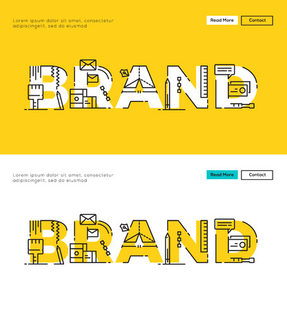 Modern Flat line design concept of Branding and Brand Design. Flat line design for Website Element ,Web Template , Web Banner , Book Cover and Corporate documents. Иллюстрация