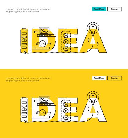 Nowoczesne mieszkanie linia koncepcja Big Idea i Idea procesu. Płaska linia do witryny sieci Web Element, Szablon, Web Banner, okładka i dokumentów korporacyjnych.