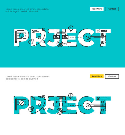 market research: Modern Flat line design concept of Project Planning and Project Management. Flat line design for Website Element ,Web Template , Web Banner , Book Cover and Corporate documents. Illustration