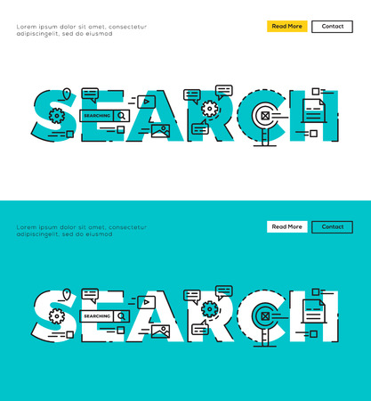 digital data: Modern Flat line design concept of Search Engine and Search Result. Flat line design for Website Element ,Web Template , Web Banner , Book Cover and Corporate documents.