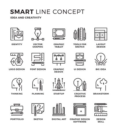 graphic icon: Set of modern thin line icon collection concept of Creativity, Graphic Design, Idea , Designer , Idea process Pixel perfect icon design for Web Graphic , Mobile app ,Vector Design illustration.
