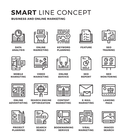 contents: Set of modern thin line icon collection concept of Seo , Digital marketing ,Online marketing ,Research and Analysis. Pixel perfect icon design for Web Graphic , Mobile app ,Vector Design illustration.