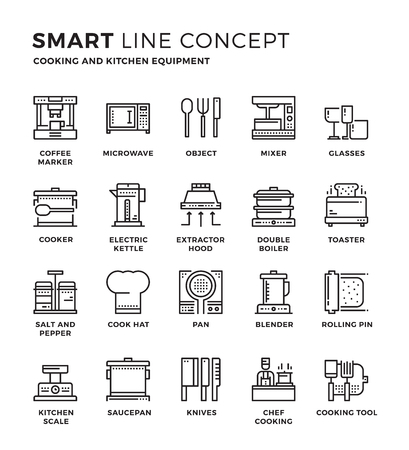 kitchen equipment: Set of modern thin line icon collection concept of Cooking , Kitchen equipment , Household. Pixel perfect icon design for Web Graphic , Mobile app ,Vector Design illustration.