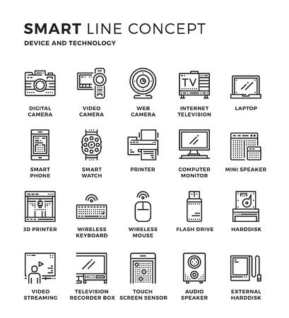Conjunto de icono de línea moderna colección concepto delgada de dispositivos, la tecnología. Pixel diseño perfecto para el icono gráfico del Web, las aplicaciones para móviles, diseño del vector ilustración.