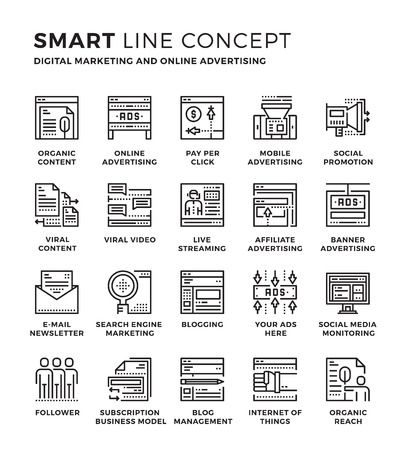 Conjunto de moderno concepto de la colección icono delgada línea de Publicidad, Marketing digital, publicidad en línea. Pixel diseño perfecto para el icono gráfico del Web, las aplicaciones para móviles, diseño del vector ilustración.