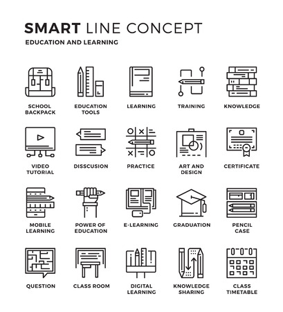 Set of modern thin line icon collection concept of Education , E-learning , Knowledge , Online Education , Training. Pixel perfect icon design for Web Graphic , Mobile app ,Vector Design illustration.