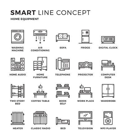 Conjunto de moderno concepto de la colección icono delgada línea de hogar, equipamiento del hogar. Pixel diseño perfecto para el icono gráfico del Web, las aplicaciones para móviles, diseño del vector ilustración.