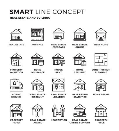 Ensemble de concept de collection d'icônes mince ligne moderne de l'immobilier, du bâtiment. Pixel design icône parfaite pour le Web graphique, application mobile, illustration Vector Design.