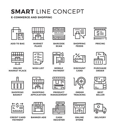 web shopping: Set of modern thin line icon collection concept of Shopping, Online Shopping, E-commerce. Pixel perfect icon design for Web Graphic , Mobile app ,Vector Design illustration.