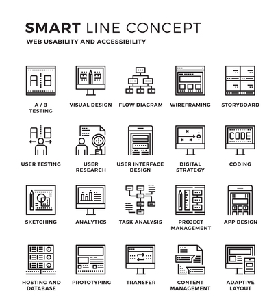 design process: Set of modern thin line icon collection concept of Web usability , Accessibility , Development. Pixel perfect icon design for Web Graphic , Mobile app ,Vector Design illustration.