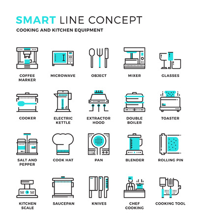 Set of modern thin line icon collection concept of Cooking , Kitchen equipment , Household. Pixel perfect icon design for Web Graphic , Mobile app ,Vector Design illustration.