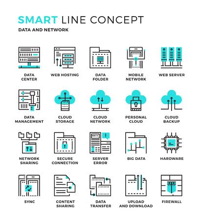 Set di moderna sottile linea collezione di icone concetto di base di dati, archiviazione, Cloud Computing, Hardware, condivisione. Pixel perfetta icona del design per il Web Graphic, app mobile, illustrazione vettoriale Design.