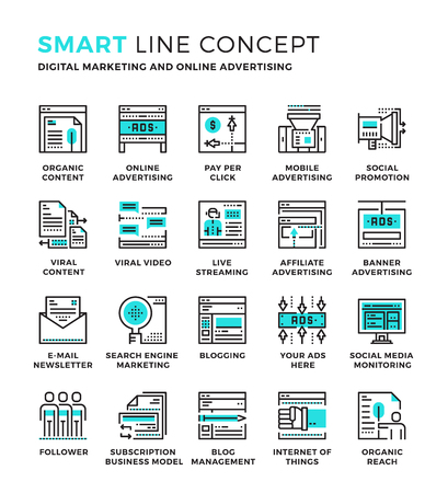 Set of modern thin line icon collection concept of Advertising , Digital Marketing , Online Advertising. Pixel perfect icon design for Web Graphic , Mobile app ,Vector Design illustration.