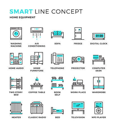 household goods: Set of modern thin line icon collection concept of Household , Home Equipment. Pixel perfect icon design for Web Graphic , Mobile app ,Vector Design illustration.