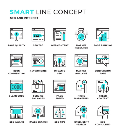 internet icon: Set of modern thin line icon collection concept of Seo , Digital marketing , Online marketing , Internet Marketing. Pixel perfect icon design for Web Graphic , Mobile app ,Vector Design illustration.