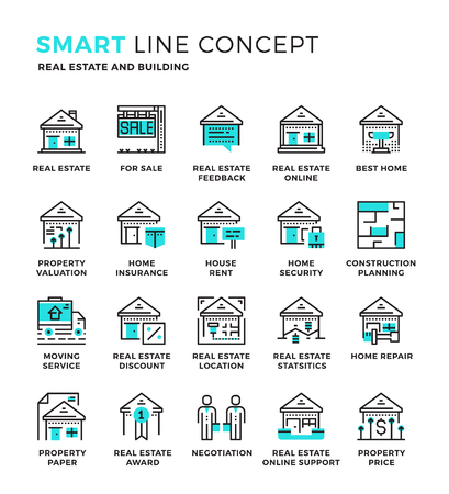 commercial real estate: Set of modern thin line icon collection concept of Real Estate , Building. Pixel perfect icon design for Web Graphic , Mobile app ,Vector Design illustration.